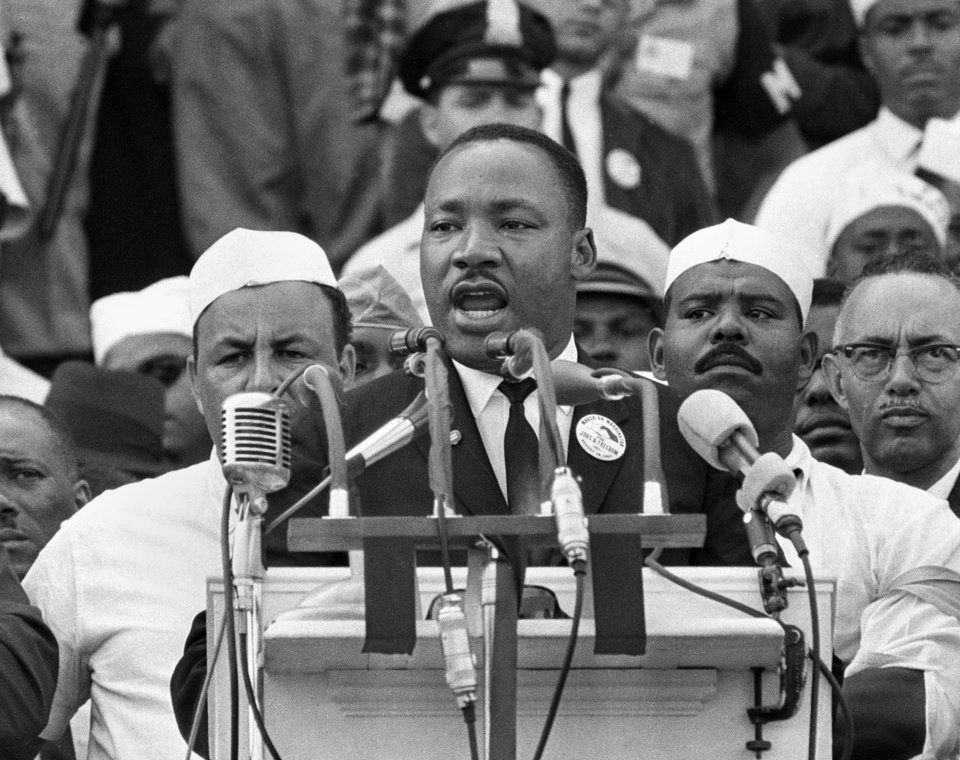 "FILE - In this Aug. 28, 1963 file photo, Dr. Martin Luther King Jr., head of the Southern Christian Leadership Conference, addresses marchers during his ""I Have a Dream"" speech at the Lincoln Memorial in Washington. (AP Photo/File)"
