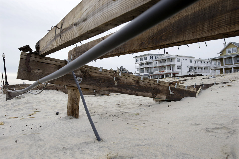 The remains of the boardwalk that was destroyed by Superstorm Sandy is seen Thursday, Feb. 7, 2013, in the Ocean Grove section of Neptune, N.J. Officials plan to appeal the Federal Emergency Management Agency\'s decision to reject a request for $1 million to repair the Ocean Grove boardwalk, which was destroyed by Superstorm Sandy. FEMA says the structure doesn\'t qualify because it is owned by the private, nonprofit Ocean Grove Camp Meeting Association. (AP Photo/Mel Evans)