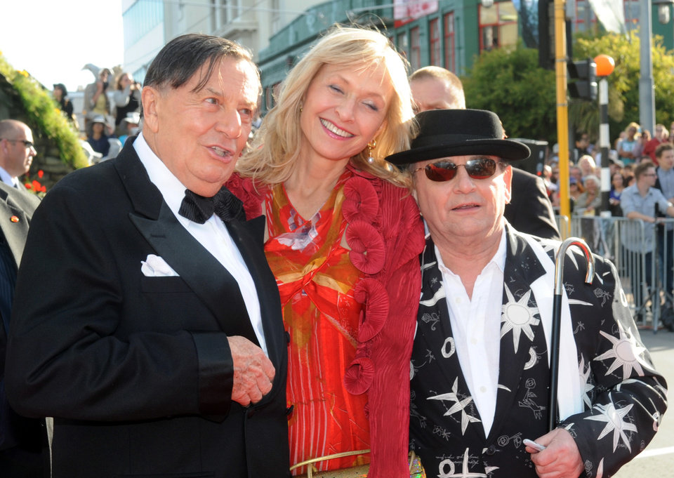 Photo -   Cast members Barry Humphries, left, who plays Great Goblin, his wife Lizzie Spender, center, and Sylvester McCoy who plays Radagast, on the red carpet at the premiere of