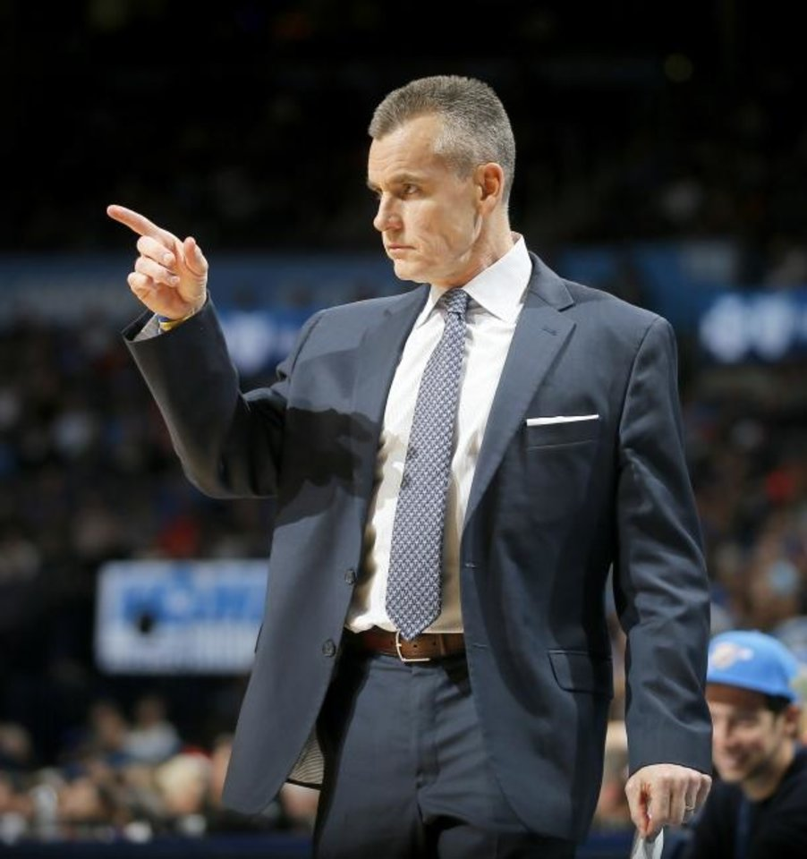 Photo -  Coach Billy Donovan and the Thunder are scheduled to have 13 back-to-back games this season. [Bryan Terry/The Oklahoman]