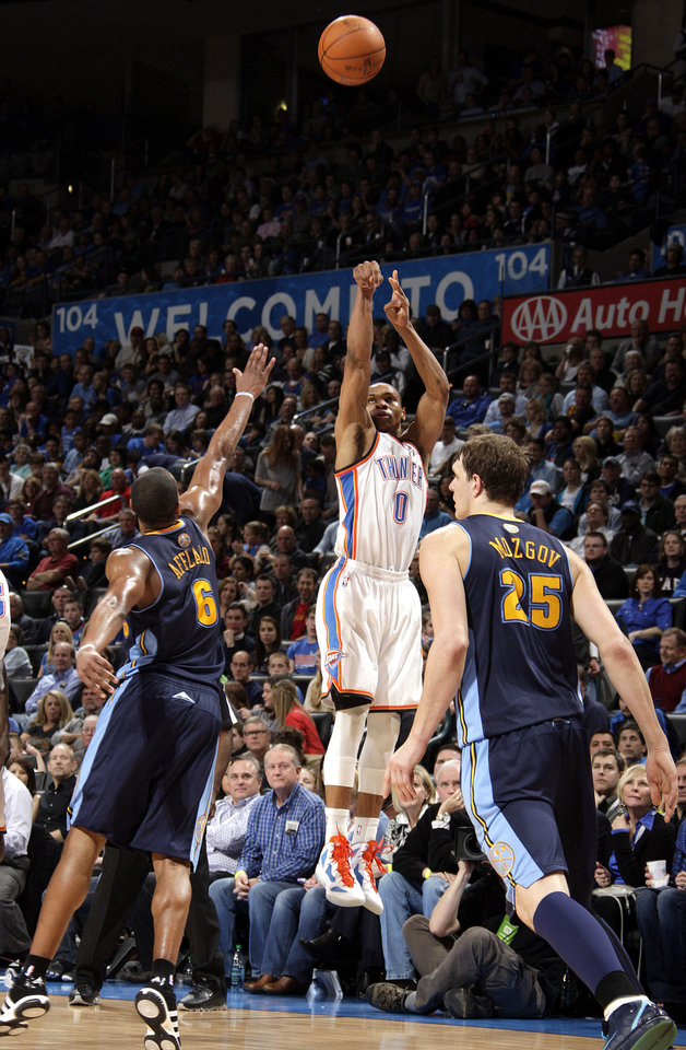 Oklahoma City\'s Russell Westbrook (0) shoots as Denver\'s Arron Afflalo (6) and Timofey Mozgov (25) defend during the NBA basketball game between the Oklahoma City Thunder and the Denver Nuggets at the Chesapeake Energy Arena, Sunday, Feb. 19, 2012. Photo by Sarah Phipps, The Oklahoman