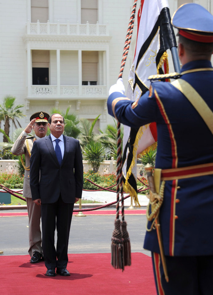 Photo - In this image released by Egypt's state news agency MEAN, President Abdel-Fattah el-Sissi reviews honor guards during his inaugural ceremony inside the Presidential Palace in Cairo, Egypt, Sunday, June 8, 2014. Egypt's newly sworn-in president called on his country Sunday to build a more stable future after years of turmoil and revolt, asking them to work hard so that their rights and freedoms could grow. Retired Field Marshal El-Sissi, the former military chief who ousted Egypt's first freely elected leader last July, addressed a ceremony held at a presidential palace in Cairo hours after he was sworn in by the Supreme Constitutional Court. (AP Photo/MENA)