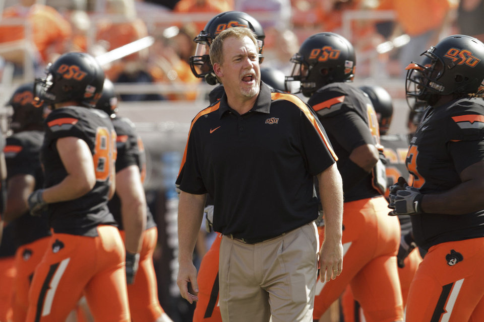 Photo - Oklahoma State assistant Glenn Spencer.  PHOTO BY GREG BULLARD, OSU SPORTS INFORMATION