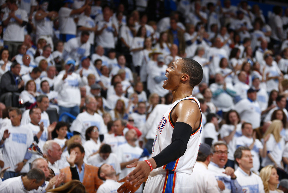 Photo - Oklahoma City's Russell Westbrook (0) celebrates during Game 5 in the first round of the NBA playoffs between the Oklahoma City Thunder and the Memphis Grizzlies at Chesapeake Energy Arena in Oklahoma City, Tuesday, April 29, 2014. Photo by Sarah Phipps, The Oklahoman