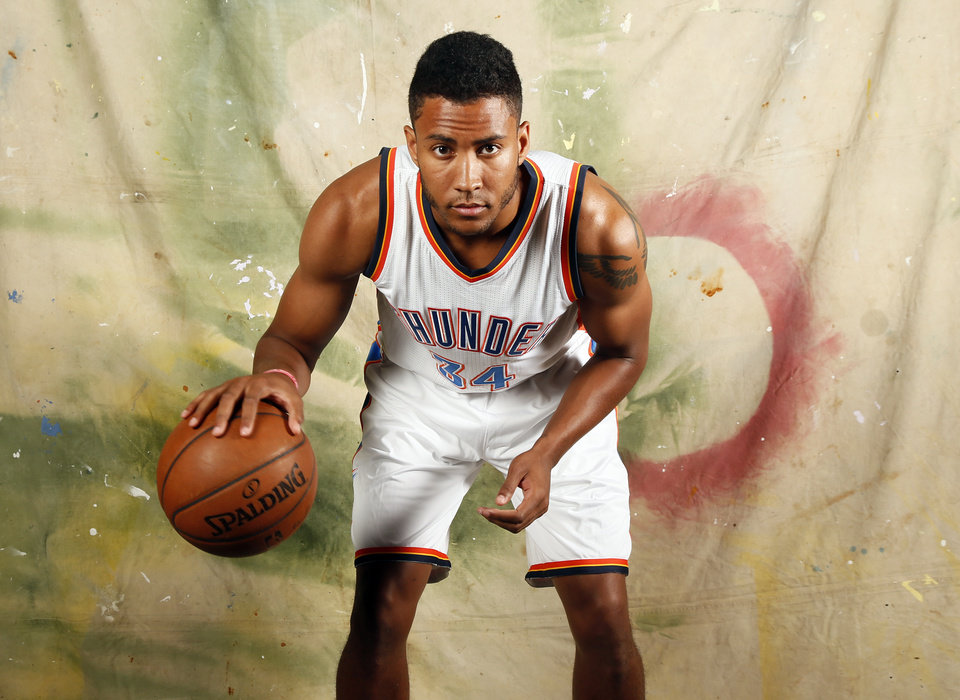 Photo - Josh Huestis (34) during media day for the Oklahoma City Thunder NBA basketball team at Chesapeake Energy Arena in Oklahoma City, Monday, Sept. 28, 2015. Photo by Nate Billings, The Oklahoman
