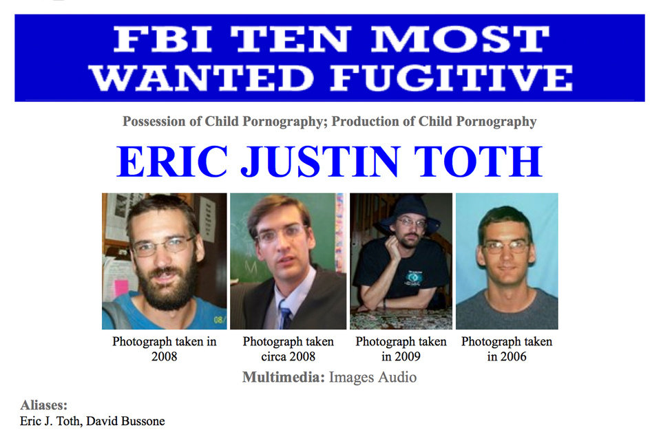"This image made from the Federal Bureau of Investigation ""Ten Most Wanted"" section of the website on Wednesday, April 11, 2012 shows Eric Justin Toth— Police in Nicaragua have detained one of the FBI's ten most-wanted fugitives, child-porn suspect Eric Justin Toth. The head of detectives for Nicaragua's National Police force says Toth was detained near the Honduran border. Glenda Zavala said Monday that Toth had been detained Saturday, based on an international detention request. The former Washington D.C. elementary school teacher faces accusations he possessed and produced child pornography. (AP Photo/FBI)"