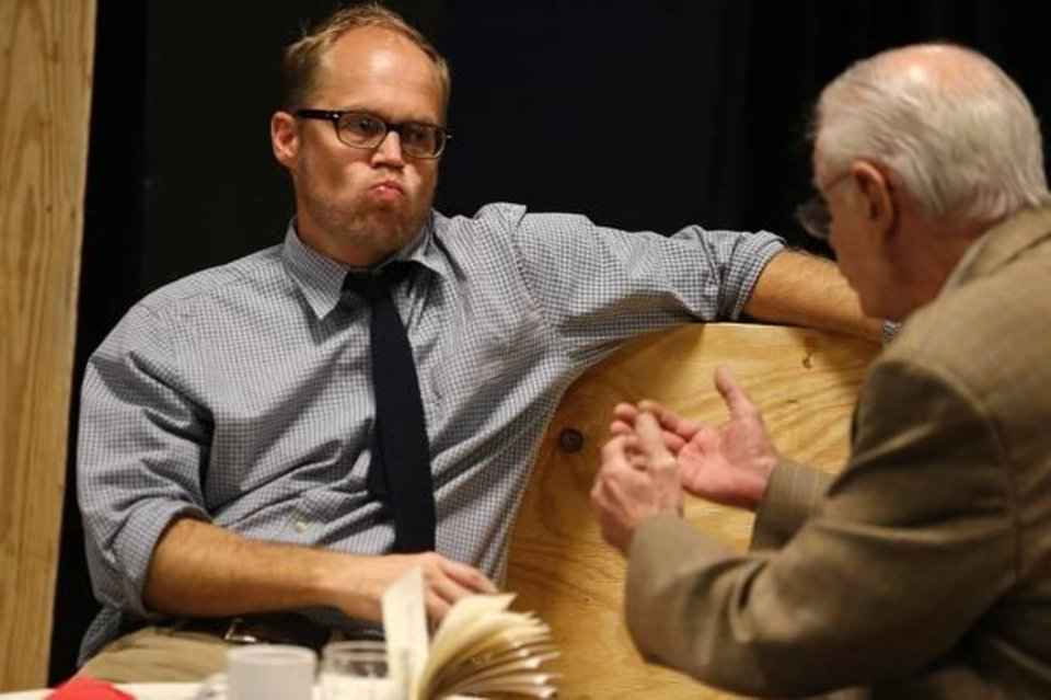 """Photo -  Craig Pruitt, left, and Bob McGill rehearse for """"Glengarry Glen Ross"""" at CitySpace Theatre on Thursday, July 24, 2014. Photo by Bryan Terry, The Oklahoman"""