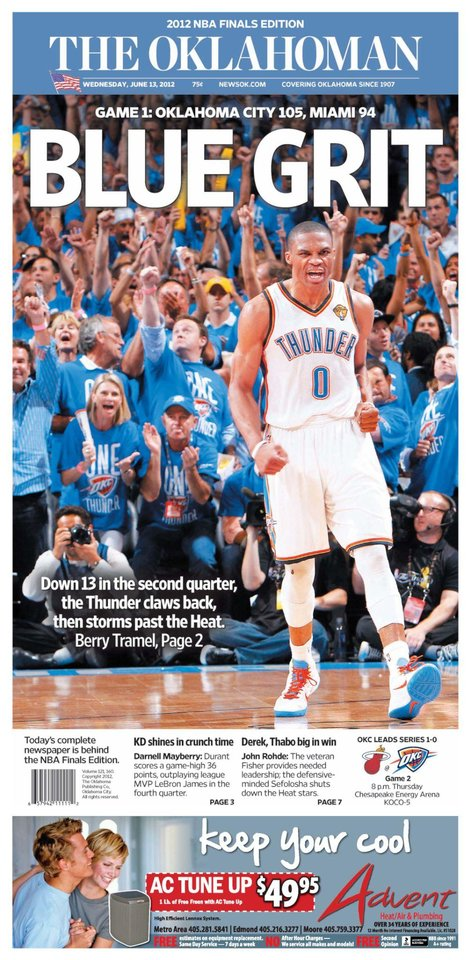 The Oklahoman, June 13, 2012, after the Thunder's Game 1 win over the Miami Heat in the NBA Finals.