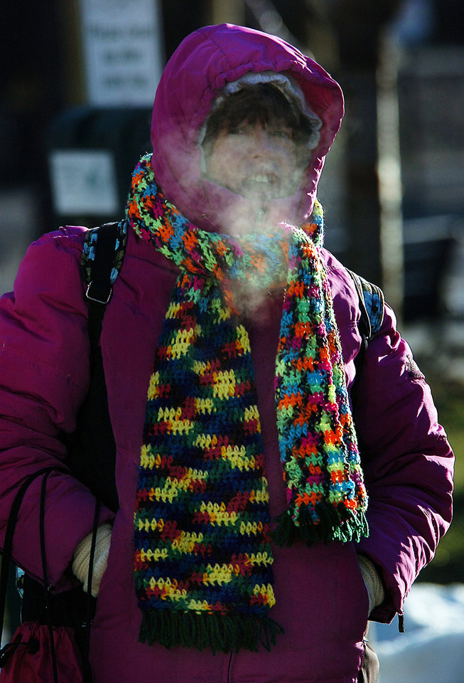 Photo - Susie Gelfand braves the cold weather on Tuesday, Jan. 7, 2014 in downtown Scranton, Pa.  Dangerously cold polar air snapped decades-old records as it spread Tuesday from the Midwest to southern and eastern parts of the U.S. and eastern Canada, making it hazardous to venture outside and keeping many schools and businesses closed.  (AP photo / The Scranton Times-Tribune, Butch Comegys)  MANDATORY CREDIT