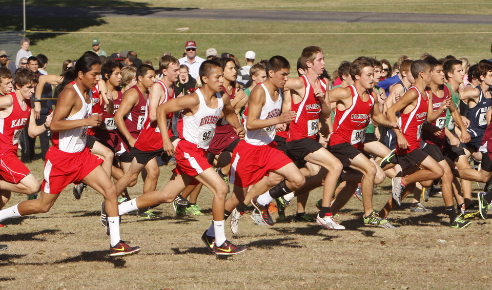 Class 3A runners begin their race during the boys State cross country meet at Gordon Cooper Vo-Tech in Shawnee, OK, Saturday, October 20, 2012,  By Paul Hellstern, The Oklahoman