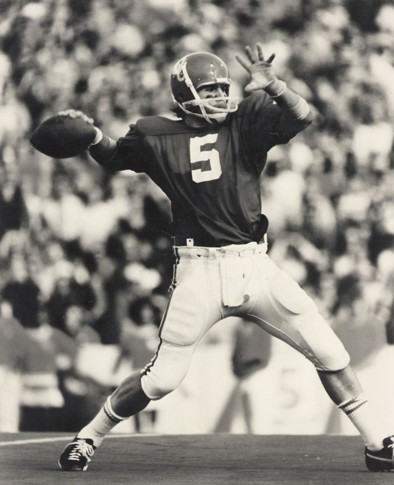 Former Oklahoma quarterback drops back to pass in this 1975 photo. OKLAHOMAN ARCHIVE PHOTO