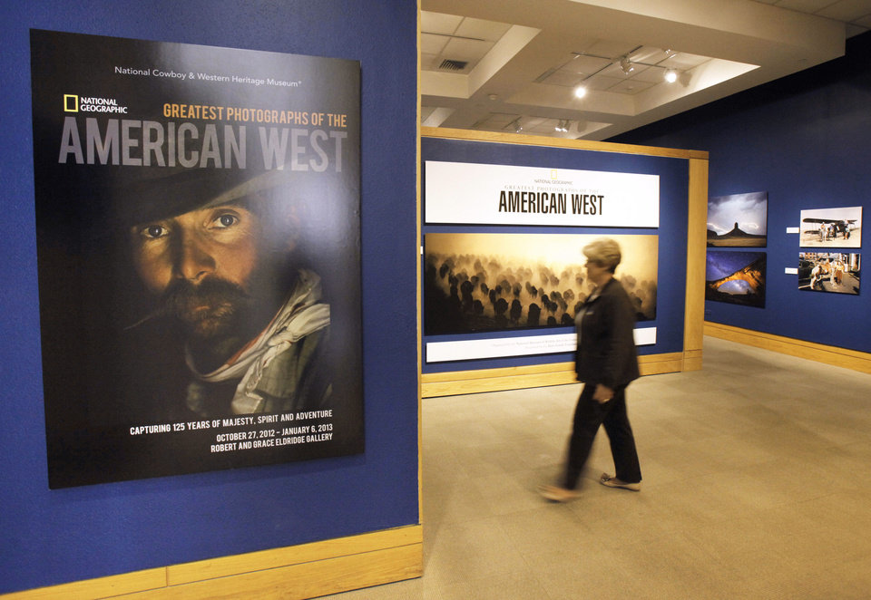 "The entrance to the exhibition of ""National Geographic's Greatest Photographs of the American West,"" is shown at the National Cowboy & Western Heritage Museum."