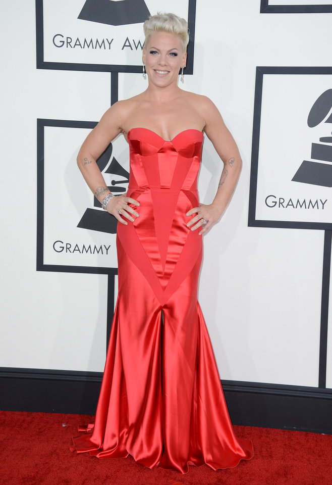 Photo - Pink arrives at the 56th annual Grammy Awards at Staples Center on Sunday, Jan. 26, 2014, in Los Angeles. (Photo by Jordan Strauss/Invision/AP)