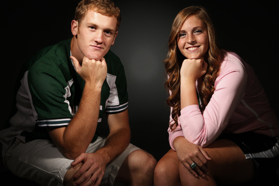 Photo - Scholar-Athletes for 2012 Elyse Hight from McGuinness and Ty Hensley from Edmond Santa Fe in the OPUBCO studio Tuesday, June 12, 2012. Photo by Doug Hoke, The Oklahoman