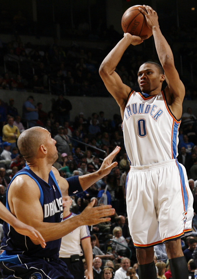 Russell Westbrook (0) of Oklahoma City shoots over Jason Kidd (2) of Dallas in the second half of the NBA basketball game between the Dallas Mavericks and the Oklahoma City Thunder at the Ford Center in Oklahoma City, March 2, 2009. The Thunder won 96-87. BY NATE BILLINGS, THE OKLAHOMAN