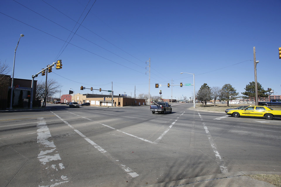 The intersection of Reno Avenue and Classen Boulevard west of downtown will be transformed beginning in 2013 as plans are finalized and construction begins on the downtown boulevard. Photo by Steve Gooch, The Oklahoman