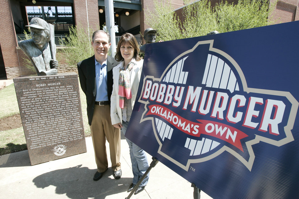 Photo - JERSEY RETIREMENT: Scott Pruitt, Oklahoma City RedHawks minor league baseball team co-owner and managing partner, poses with Kay Murcer, widow of Bobby Murcer during a press conference announcing that the RedHawks will retire the #1 jersey in honor of Bobby Murcer in a special ceremony April 17th at the AT&T Bricktown Ballpark in Oklahoma City, Oklahoma April 14, 2009.  Photo by Steve Gooch, The Oklahoman ORG XMIT: KOD
