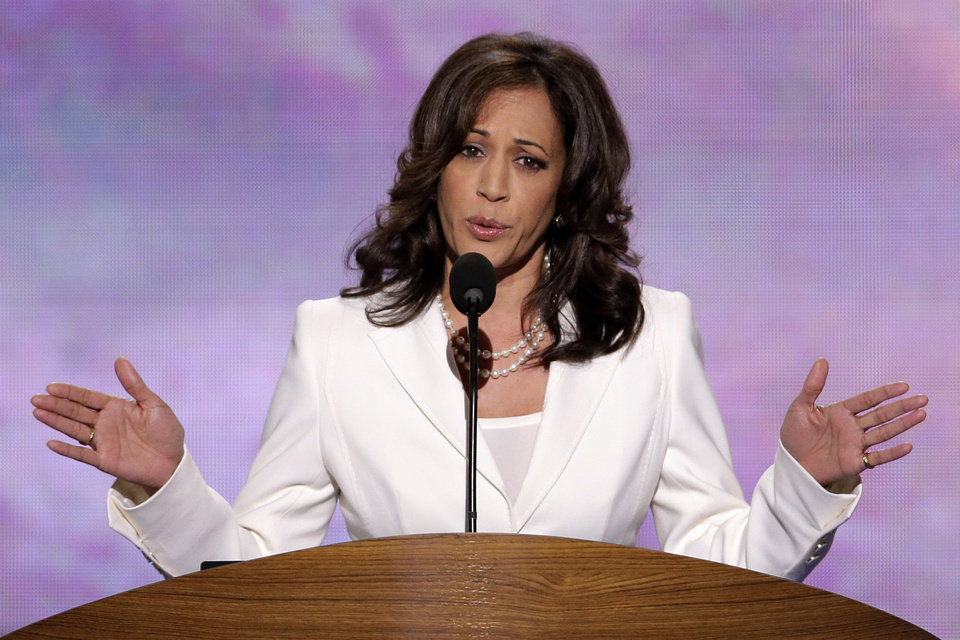 Photo - California Attorney General Kamala D. Harris addresses the Democratic National Convention in Charlotte, N.C., on Wednesday, Sept. 5, 2012. (AP Photo/J. Scott Applewhite)  ORG XMIT: DNC159