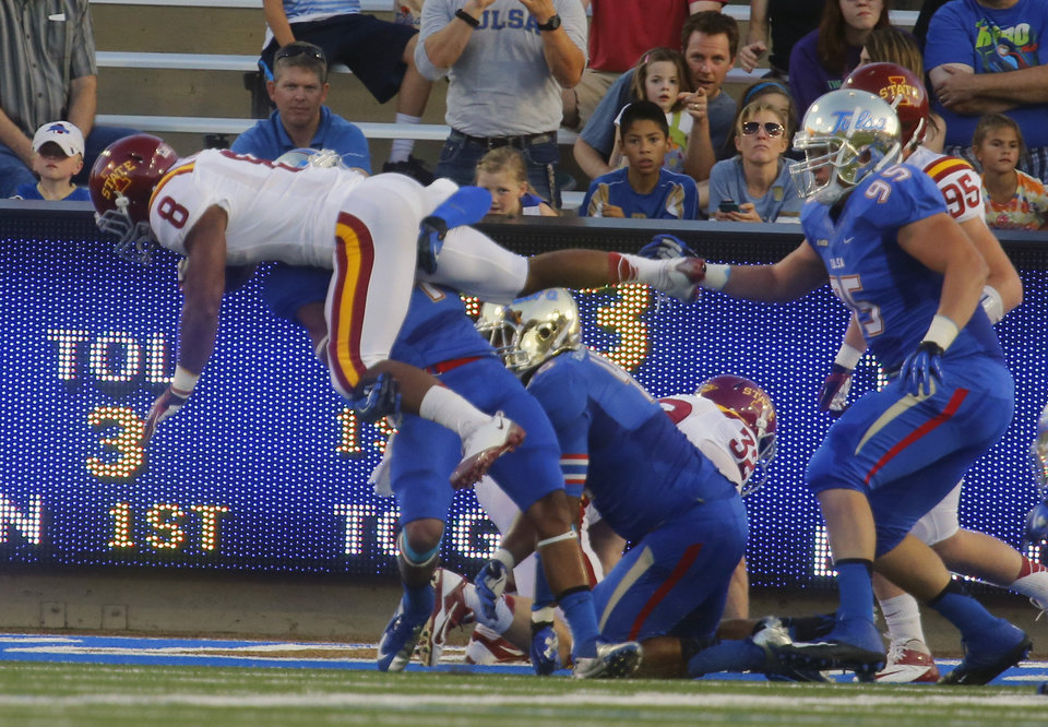 Photo - Iowa State's James White dives toward the end zone during the first half of an NCAA college football game, Thursday, Sept. 26, 2013 in Tulsa, Okla. (AP Photo/Tulsa World,  Tom Gilbert)  ONLINE OUT; TV OUT; TULSA OUT