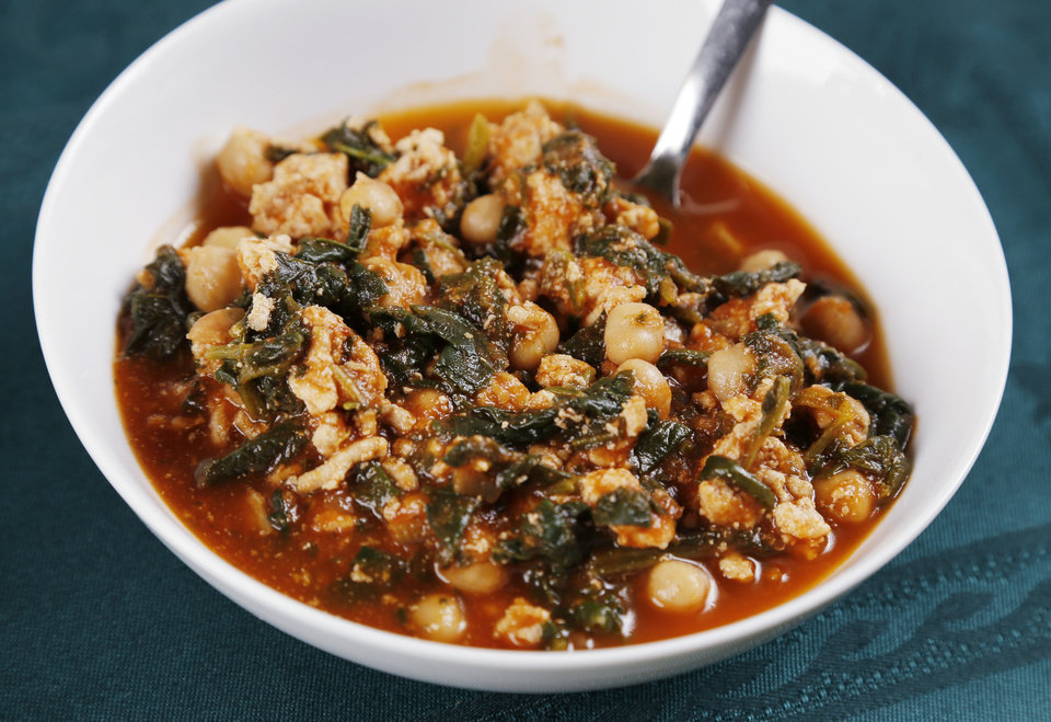 Turkey Soup with Garbanzo Beans and Spinach. <strong>DOUG HOKE - THE OKLAHOMAN</strong>