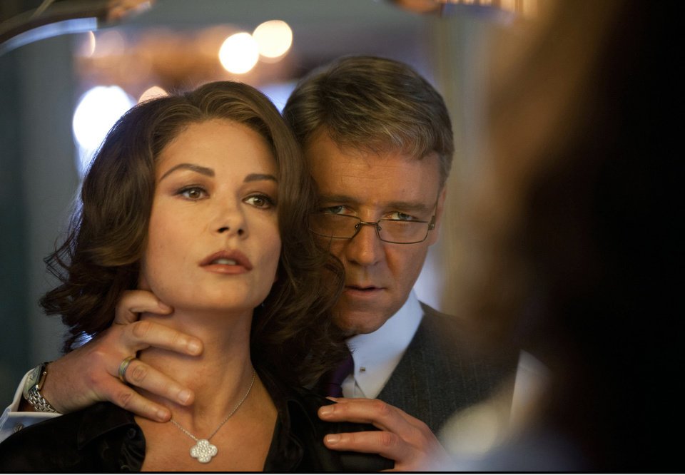 """This film image released by 20th Century Fox shows Catherine Zeta-Jones, left, and Russell Crowe in a scene from """"Broken City."""" (AP Photo/20th Century Fox, Alan Markfield)  ORG XMIT: NYET812"""