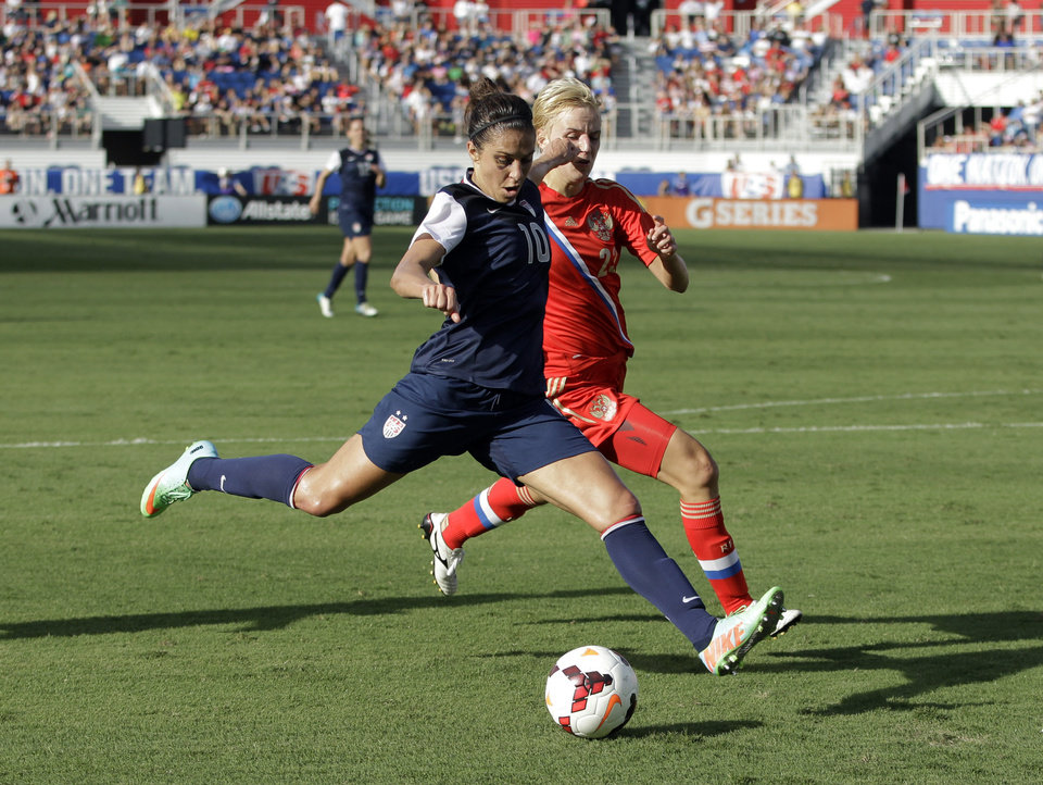 Photo - United State's Carli Lloyd (10) prepares to shoot for goal against Russia's Elena Morozova (23) during an international friendly soccer match in Boca Raton, Fla., Saturday, Feb. 8, 2014. The U.S. won 7-0. (AP Photo/Alan Diaz)