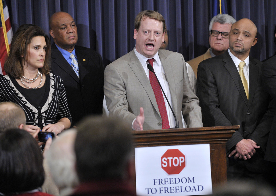 "House Minority Leader-elect, Tim Greimel, D-Auburn Hills, speaks to the crowd Wednesday afternoon, Dec. 5, 2012 at the Capitol in Lansing, Mich., as House and Senate Democrats hold a news conference to speak on the possibility of ""Right To Work"" legislation coming up for a vote. (AP Photo/The Detroit News, Dale G. Young)"