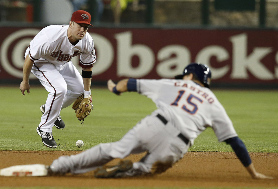 Photo - Arizona Diamondbacks' Aaron Hill, left, drops the ball for an error as Houston Astros' Jason Castro (15) slides safely into second base during the first inning of a baseball game on Monday, June 9, 2014, in Phoenix. (AP Photo/Ross D. Franklin)