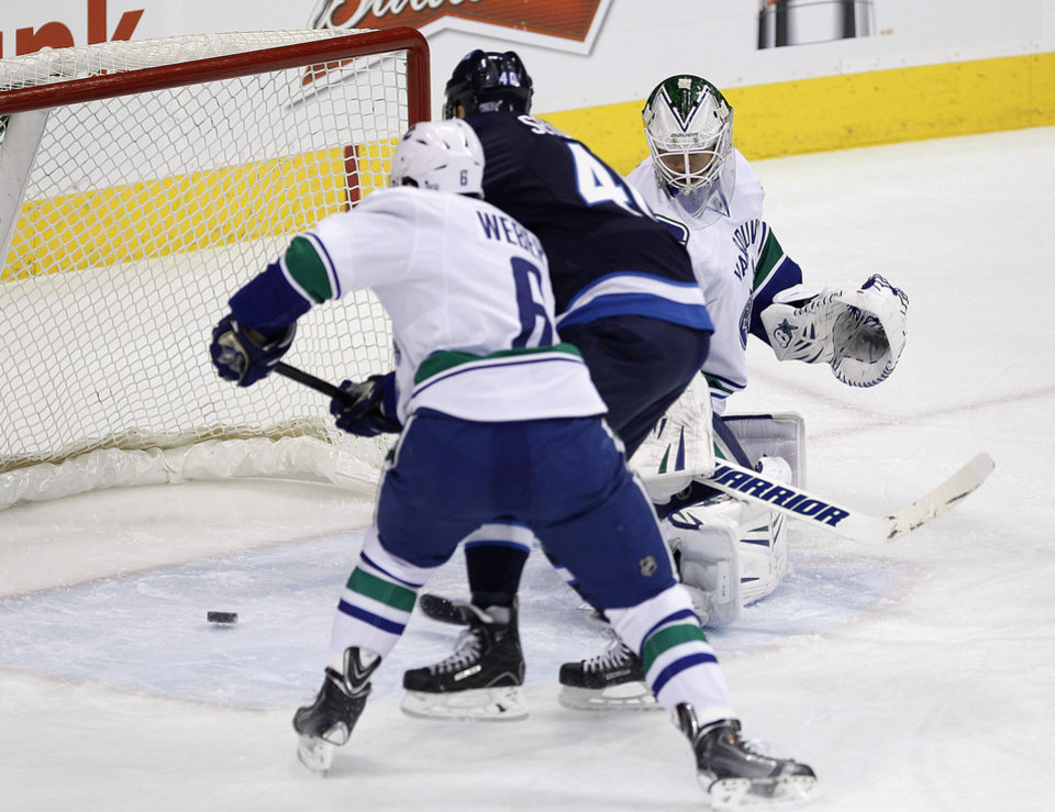 Photo - Winnipeg Jets' Devin Setoguchi (40)scores on Vancouver Canucks goaltender Eddie Lack (31) as Canucks' Yannick Weber (6) defends during the first period of an NHL hockey game in Winnipeg, Manitoba, on Friday, Jan. 31, 2014. (AP Photo/The Canadian Press, John Woods)