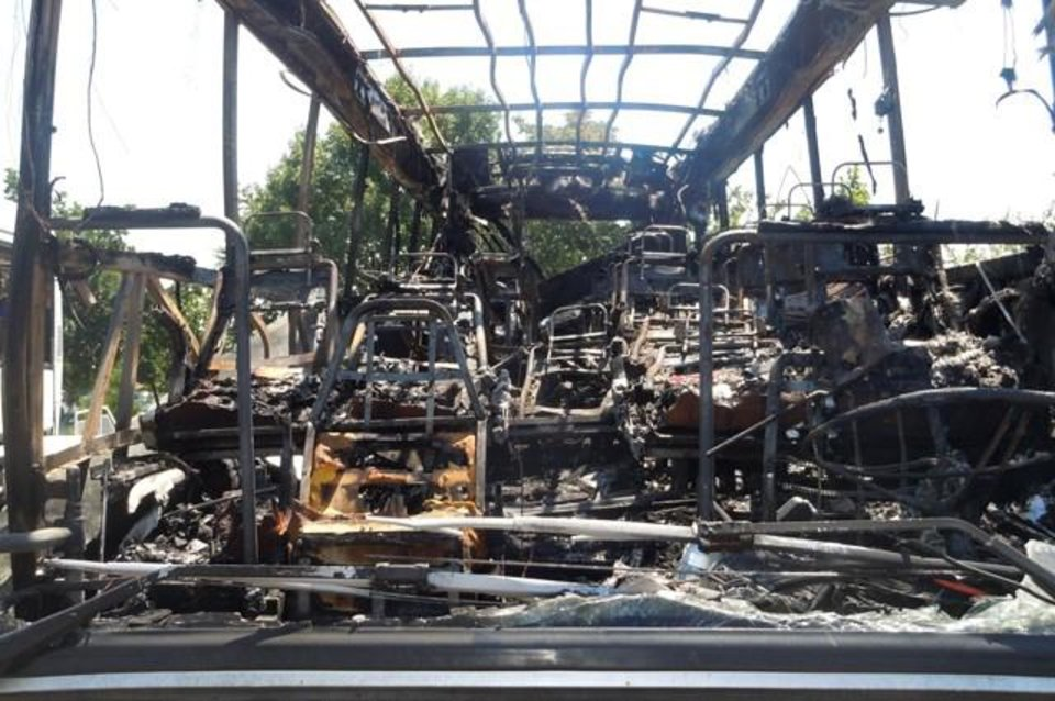 Photo -   This image provided by the Bulgarian Interior Ministry Thursday July 19, 2012, shows the interior of a damaged bus following Wednesday's deadly suicide attack on a bus full of Israeli vacationers at the Burgas airport parking lot, Burgas, Bulgaria. The attack occurred shortly after the Israelis boarded a bus outside the airport in the Black Sea resort town of Burgas, a popular destination for Israeli tourists — particularly for high school graduates before they are drafted into military service. Burgas is about 400 kilometers (250 miles) east of the capital, Sofia. (AP Photo/Bulgarian Interior Ministry)