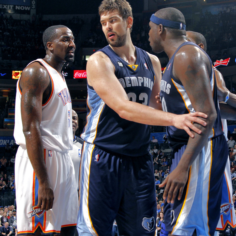 Memphis� Marc Gasol, center, steps between Oklahoma City�s Kendrick Perkins, left, and Memphis� Zach Randolph before both were ejected. The two had another altercation near the Thunder dressing room. Photo by Chris Landsberger, The Oklahoman