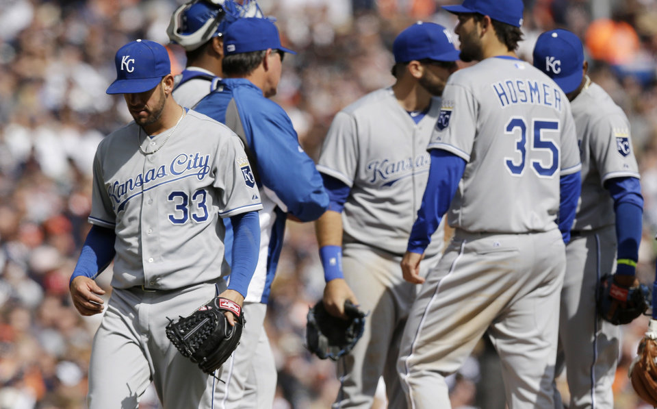 Photo - Kansas City Royals starting pitcher James Shields is pulled during the seventh inning of a baseball game against the Detroit Tigers in Detroit, Monday, March 31, 2014. (AP Photo/Carlos Osorio)
