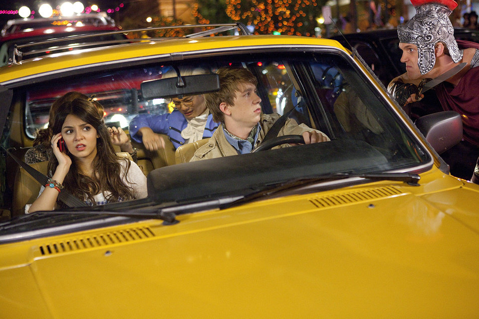 Photo - From left, Victoria Justice plays Wren, Osric Chau (in back seat) as Peng, Thomas Mann (driving) as Roosevelt, Patrick de Ledebur as Mike Puglio in the teen comedy