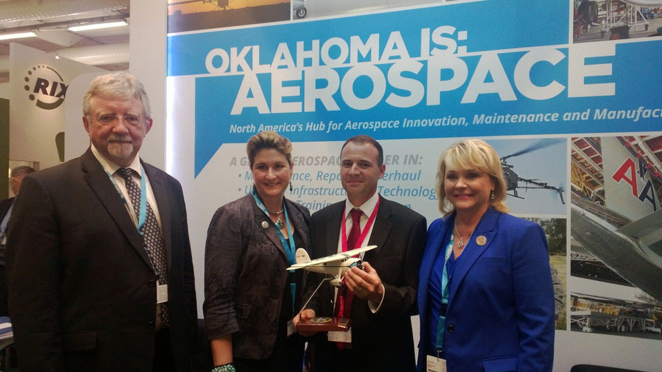 Pictured left to right: Oklahoma Secretary of Technology Stephen McKeever; Oklahoma Commerce Department Executive Director Jonna Kirschner, Ferra Engineering CEO Mark Scherrer and Gov. Mary Fallin. <strong></strong>