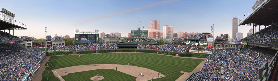 Photo - FILE - This file photo shows an artist's rendering provided by the Chicago Cubs showing planned renovations at Wrigley Field. Wrigley Field has been the site of so much heartbreak that some fans who spend their whole lives waiting for a winner ask their families, if they can pull it off, to sneak their ashes inside to be scattered in the friendly confines, a final resting place to keep on waiting. But before years turned into decades and decades turned into a century without a World Series title, Wrigley Field was in first time and time again in changing the way we watch baseball and the experience for fans in ballparks around the country. Today, the Cubs are trying to play catch up with a project as dramatic as the one that resulted in a new scoreboard and brick outfield wall: a $500 million project that includes the kind of massive Jumbotron that towers over every other major league stadium. The historic ballpark will celebrate it's 100th anniversary on April 23, 2014. (AP Photo/Courtesy of the Chicago Cubs, File)