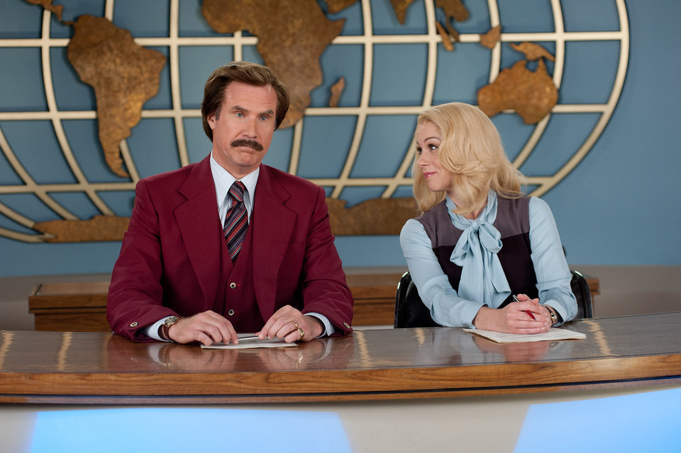Photo - This image released by Paramount Pictures shows Will Ferrell as Ron Burgundy, left, and Christina Applegate as Veronica Corningstone in a scene from