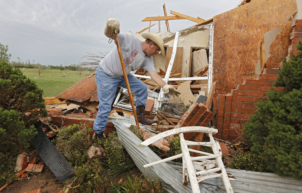 George Stanley surveys the damage to his home after it was destroyed by the tornado that hit the area near 149th and Drexel on Monday, May 20, 2013 in Oklahoma City, Okla.  Photo by Chris Landsberger, The Oklahoman