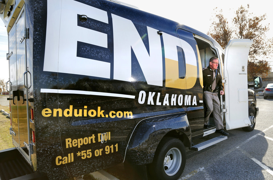 Photo -  An ENDUI van is shown at Oklahoma Highway Patrol's Troop A headquarters in southwest Oklahoma City. The ENDUI program is geared toward reducing drunken and drugged driving through enforcement and education programs. [Photo by Jim Beckel, The Oklahoman]