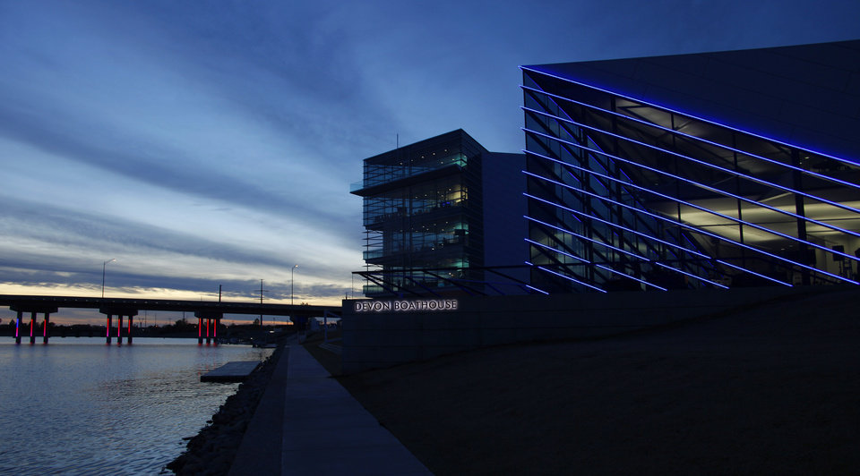 Chesapeake Finish Line Tower, left, and the Devon Boathouse at the Oklahoma River Friday, November 11, 2011. Photo by Doug Hoke, The Oklahoman
