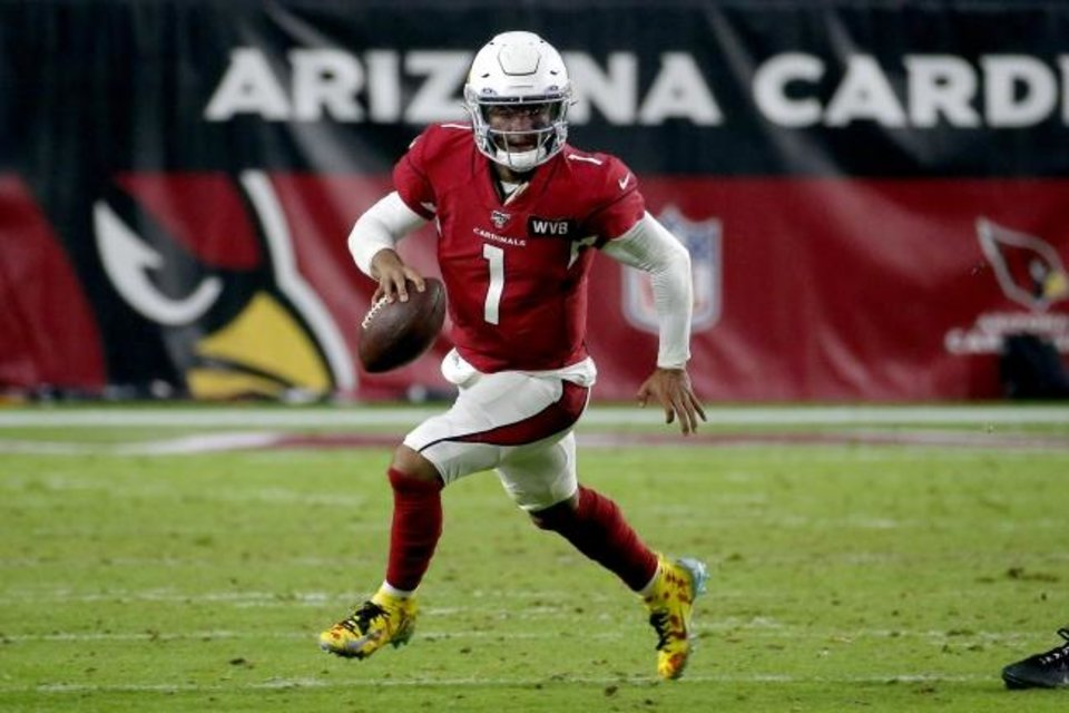 Photo -  Kyler Murray leads the Cardinals with 3,060 passing and 448 rushing yards. [AP Photo/Rick Scuteri]