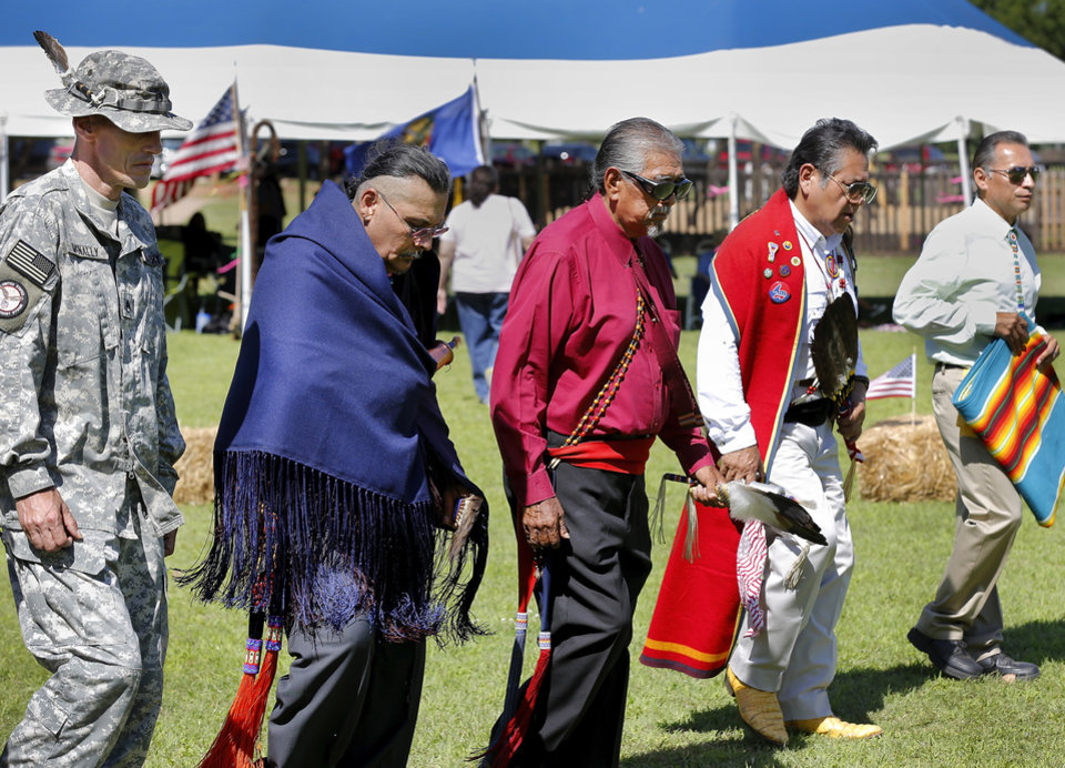 Photo -  Participants dance at the Tinker Inter-Tribal Council's powwow. Photo by Jim Beckel, The Oklahoman   Jim Beckel -