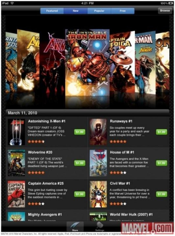 Marvel Comics' iPad app.