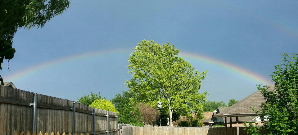 Photo - This pic was taken around 7 pm, NW OKC right before the storms hit.  Beautiful rainbow. by Gayla A Ross #newsoknow #Weather
