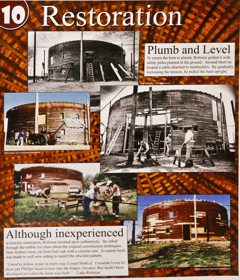 Photo - The history of the Round Barn is told on several displays in the gift shop of the 114-year-old structure in Arcadia.  CHRIS LANDSBERGER - The Oklahoman
