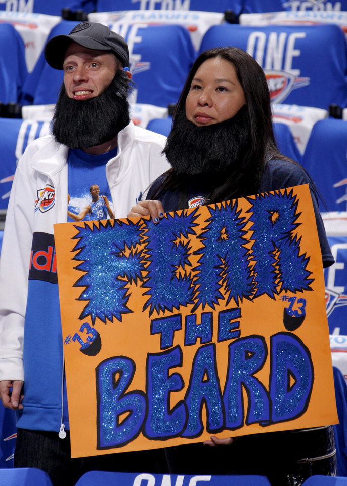 NBA BASKETBALL / LOS ANGELES LAKERS / FANS / SIGN / BEARDS: Justin Jones and Candace Chalakee of Lawton wait for the start of Game 1 in the second round of the NBA playoffs between the Oklahoma City Thunder and L.A. Lakers at Chesapeake Energy Arena in Oklahoma City, Monday, May 14, 2012. Photo by Bryan Terry, The Oklahoman