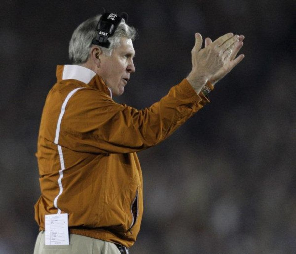 Photo - Mack Brown has a little bit of a quarterback problem in Austin. Instead of one really good quarterback, like he's used to with Colt McCoy and Vince Young, he seems to have four so-so quarterbacks. AP ARCHIVE PHOTO  Jae C. Hong