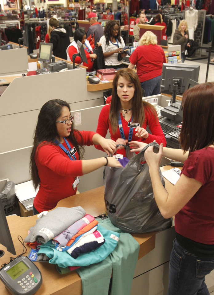 Items are rung up at the register as shoppers turn out for early Black Friday shopping at the Kohl's store in Midwest City, OK, Friday, November 23, 2012,  By Paul Hellstern, The Oklahoman