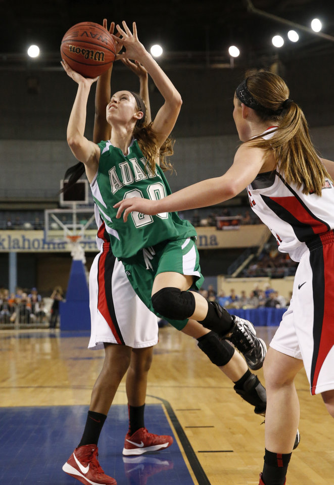 Adair's Bailey Stephens shoots during the 3A girls semifinal game between the Adair High School Lady Warriors and the Sulphur Lady Bulldogs at the State Fair Arena on Friday, March 8, 2013 in Oklahoma City, Okla.  Photo by Steve Sisney, The Oklahoman
