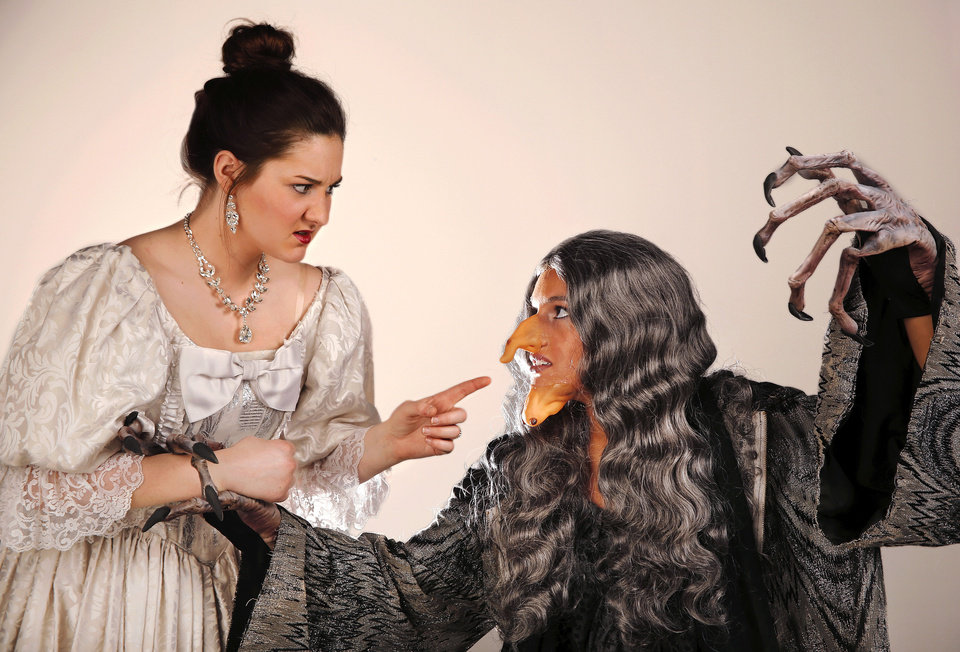 "Jill Pullen as Cinderella, left, encounters Hannah McCumber who plays the witch in ""Into the Woods,"" which opens Thursday at Putnam City North High School.    Photo by Jim Beckel, The Oklahoman <strong>Jim Beckel - THE OKLAHOMAN</strong>"