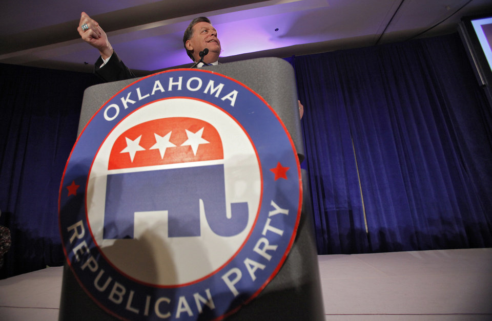 Photo - U.S. Congressman Tom Cole speaks to supporters at the republican Watch Party at the Marriott on Tuesday, Nov. 2, 2010, in Oklahoma City, Okla.   Photo by Chris Landsberger, The Oklahoman